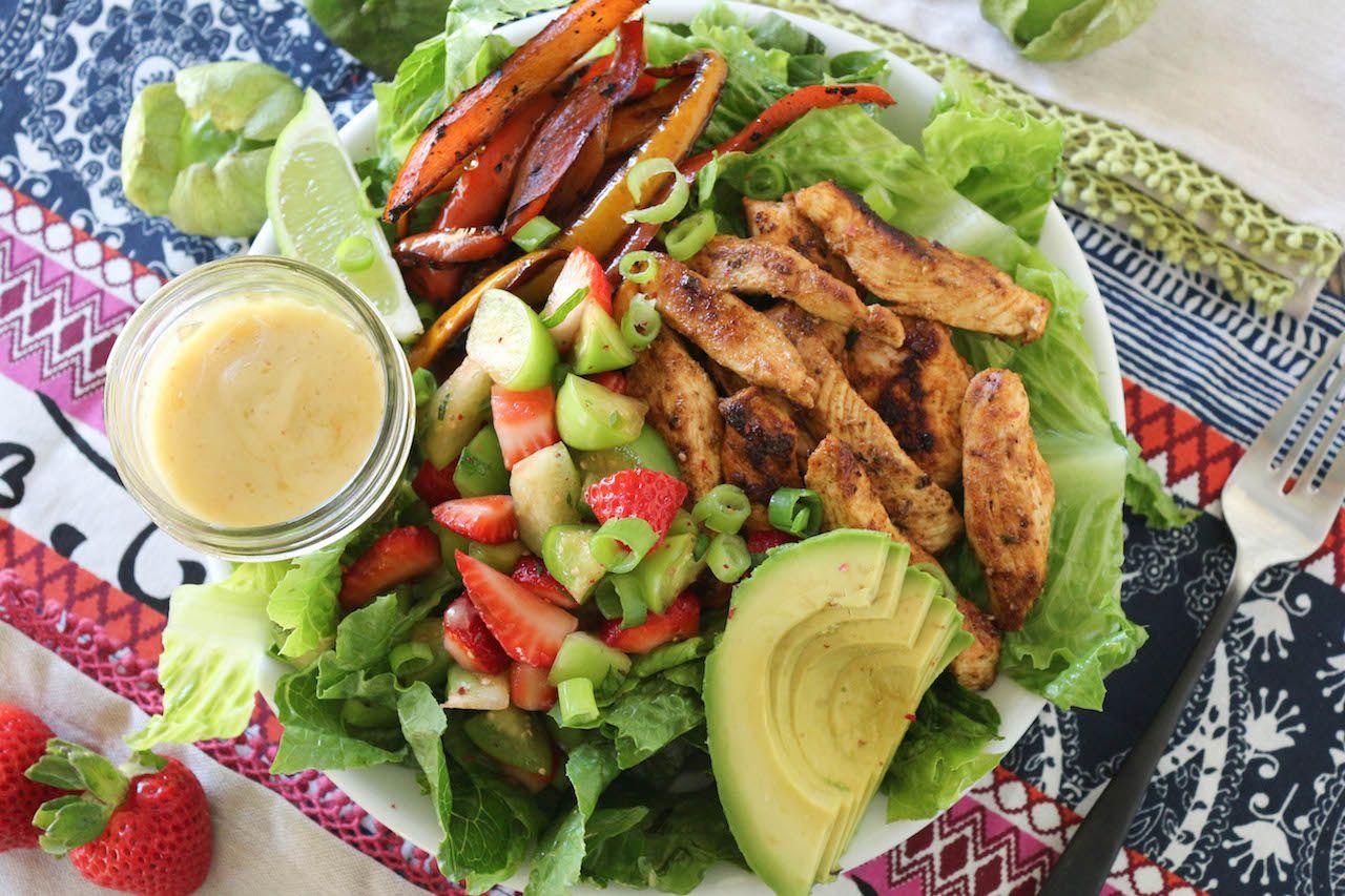 Strawberry Tomatillo Chicken Fajita Salad