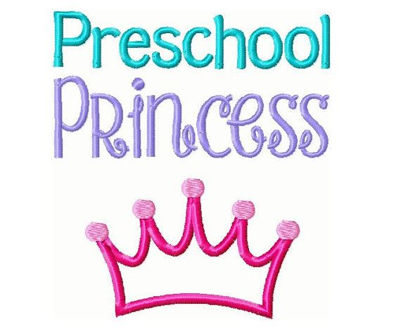 Preschool Princess Embroidery Design Instant By Countrysbsdesigns