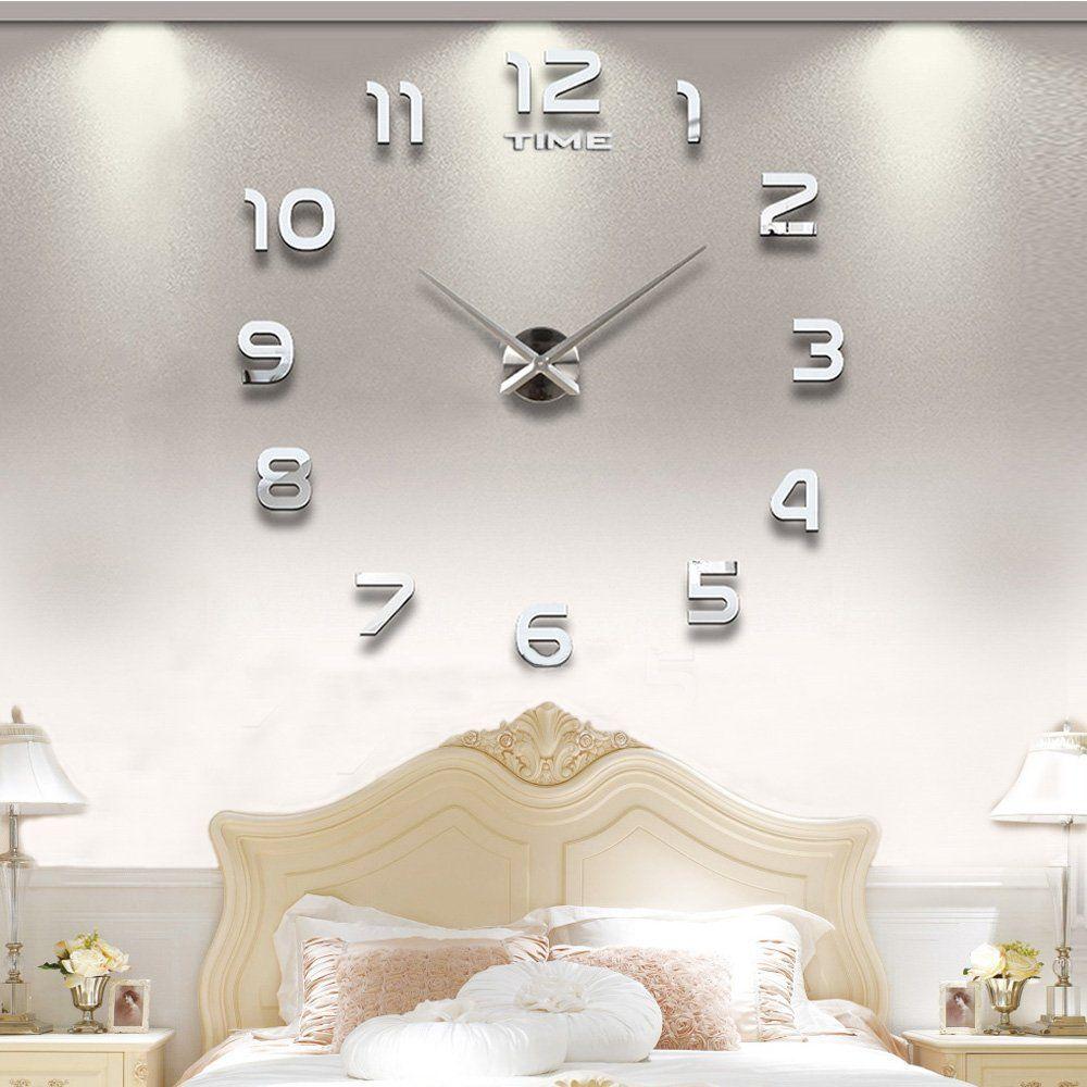 Vangold Modern DIY Wall Clock Large Frameless 3D Wall Clock Mirror ...