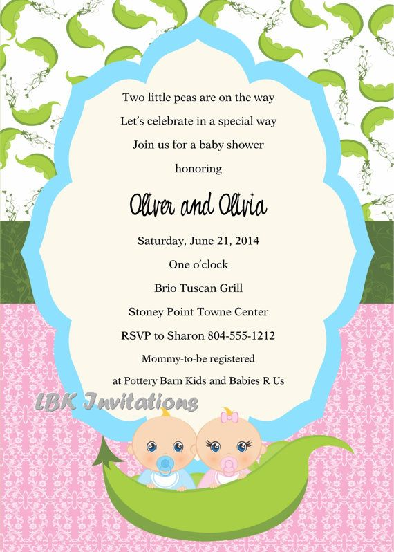 Peas in a Pod Twin Baby Shower Invitation by LBKInvites on Etsy, $15.00