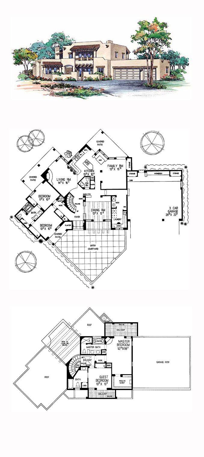 Southwest Style House Plan 99275 With 4 Bed 4 Bath 3 Car Garage House Plans Spanish Style Bathrooms Santa Fe Style Decor