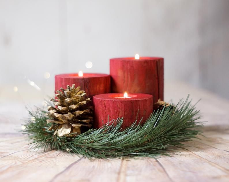 Christmas Candles Holiday Decor Wood Candle Holder Christmas Decorations Rustic Home Decor Rustic Christmas Table Centerpiece Red Barn Wood Candle Holders Rustic Christmas Wood Candles