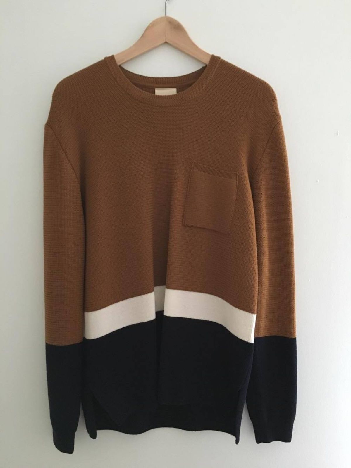 Wooyoungmi tri-color sweater. 100% wool. Beautiful light knit in ...