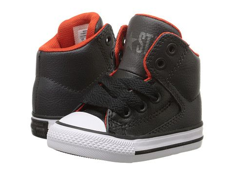 6ac7f051864ef3 Converse Kids Chuck Taylor® All Star® High Street Leather (Infant Toddler)  Storm Wind Charcoal White - Zappos.com Free Shipping BOTH Ways