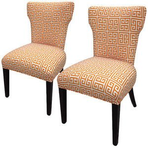 Sole Designs Amelia Chain Wingback Cotton Slipper Chair (Set of 2)