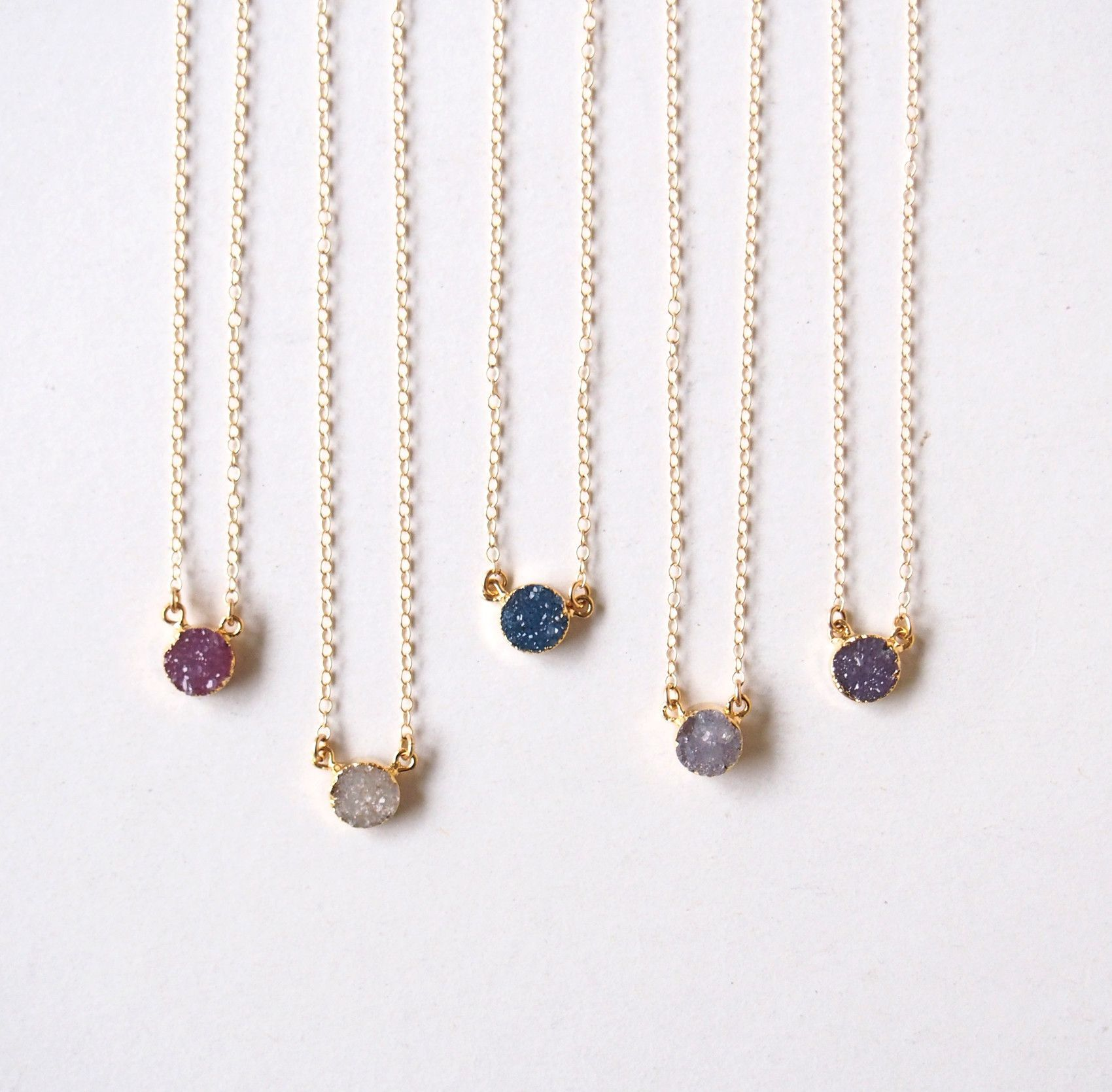 Gold Druzy Gemstone Choker Pendant Necklace | Products | Pinterest