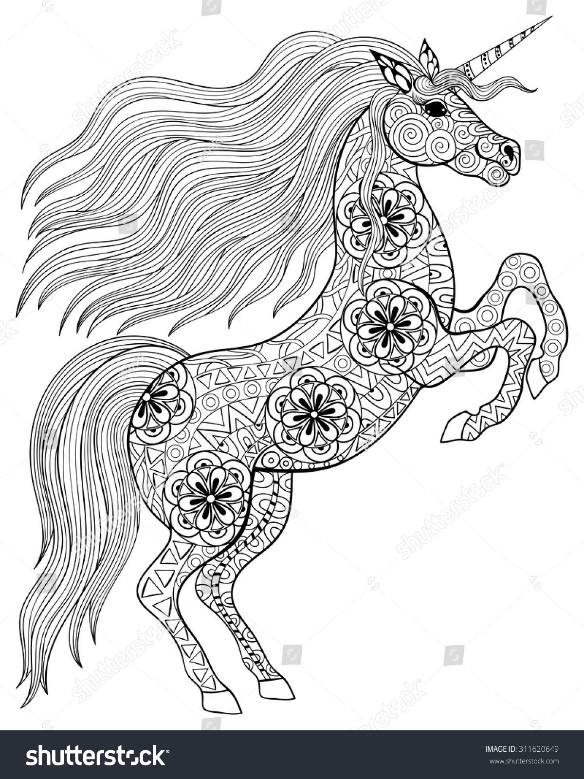 Stock Vector Hand Drawn Magic Unicorn For Adult