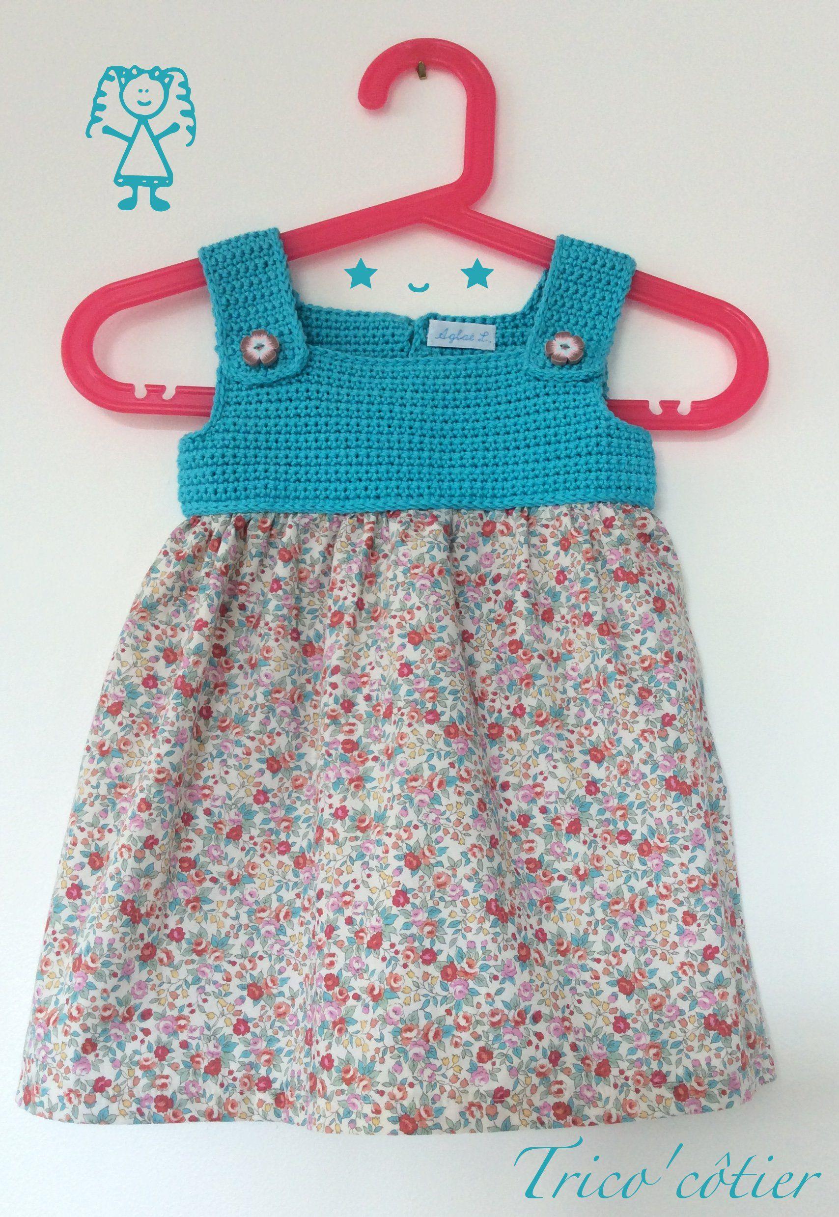 robe pour petite fille au crochet et la couture fait main dress baby girl agla les. Black Bedroom Furniture Sets. Home Design Ideas