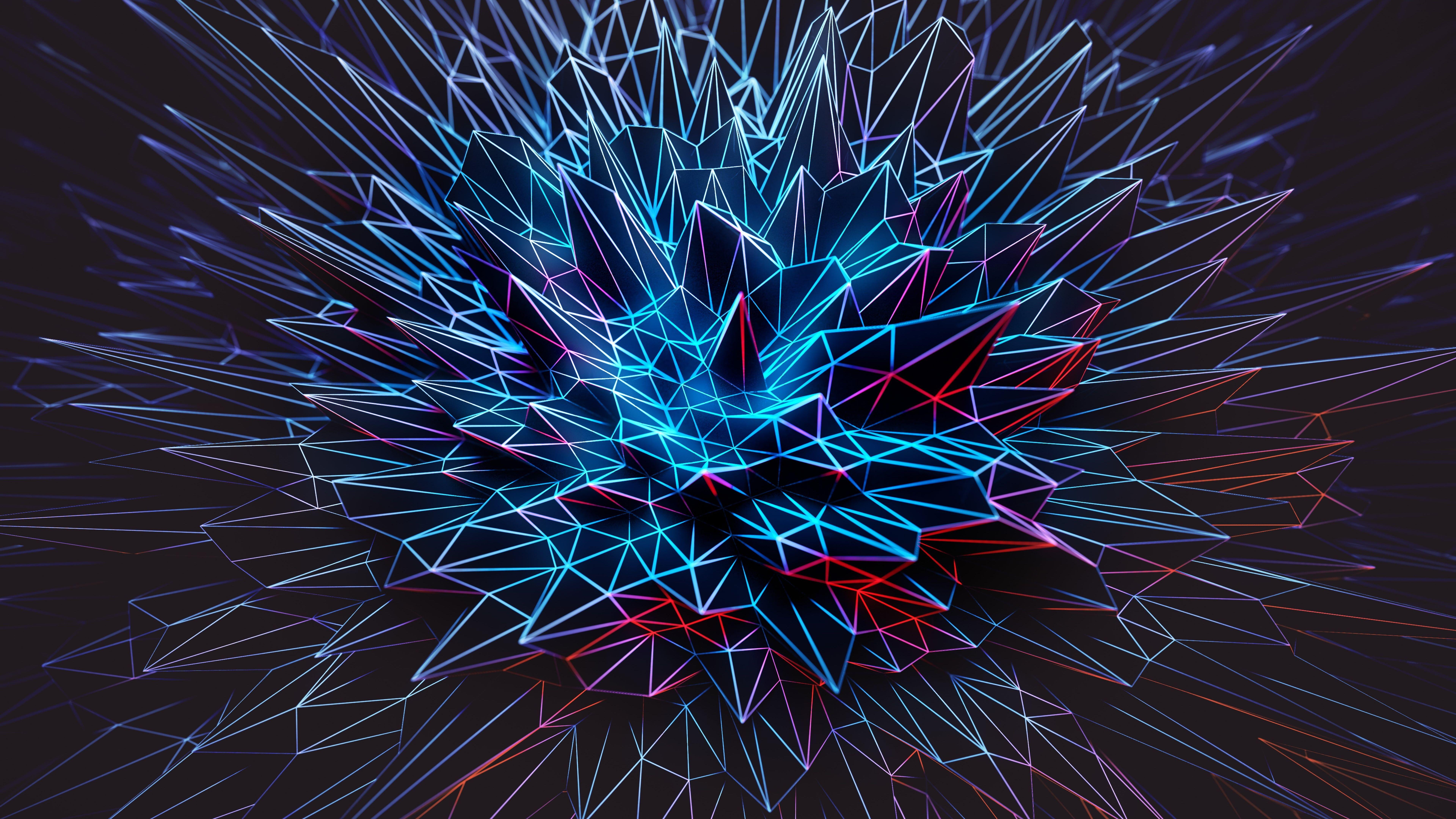 8k Uhd 3d Digital Art Abstract Art 8k Polygonal Spike Spikes Blue Electric Blue Darkness Graphics Graphic De Artistic Wallpaper Dark Wallpaper Abstract