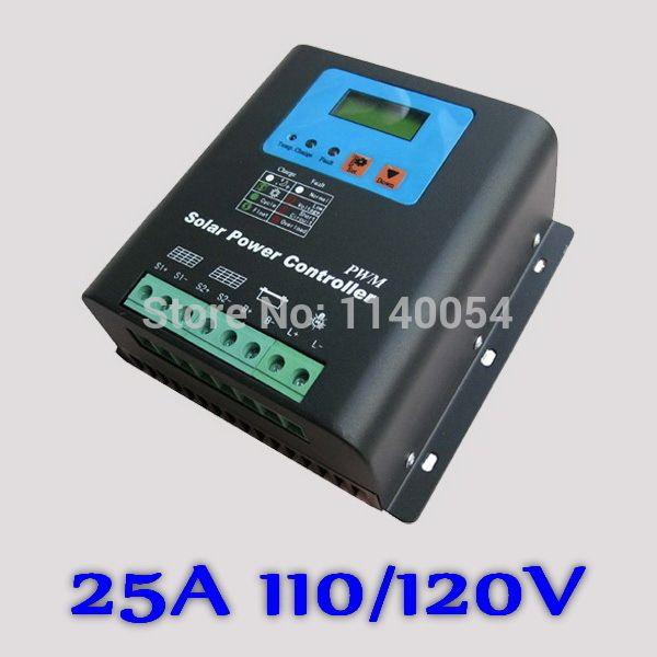 25a 110v Or 120v Solar Charge Controller 110v Or 120v Battery Regulator 25a For 3000w Pv Solar Panels Modules Solar Panel Battery Solar Battery Solar Charger
