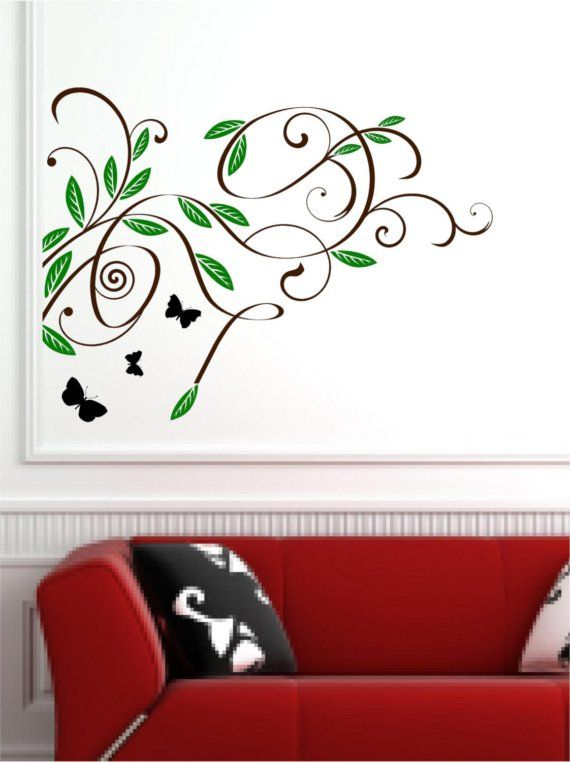 butterfly swirl wall decal vinyl wall mural largevinylonthego