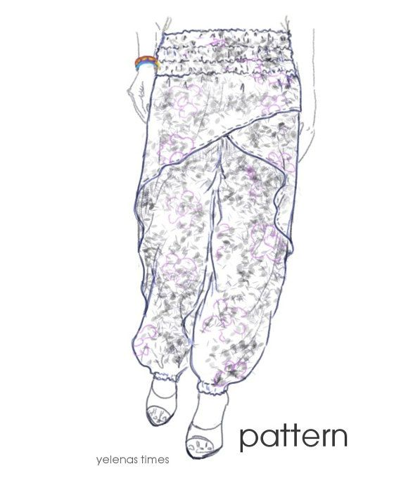Harem Pants Sewing Pattern-Wrap Pants-Aladdin Pants -Baggy Pants ...