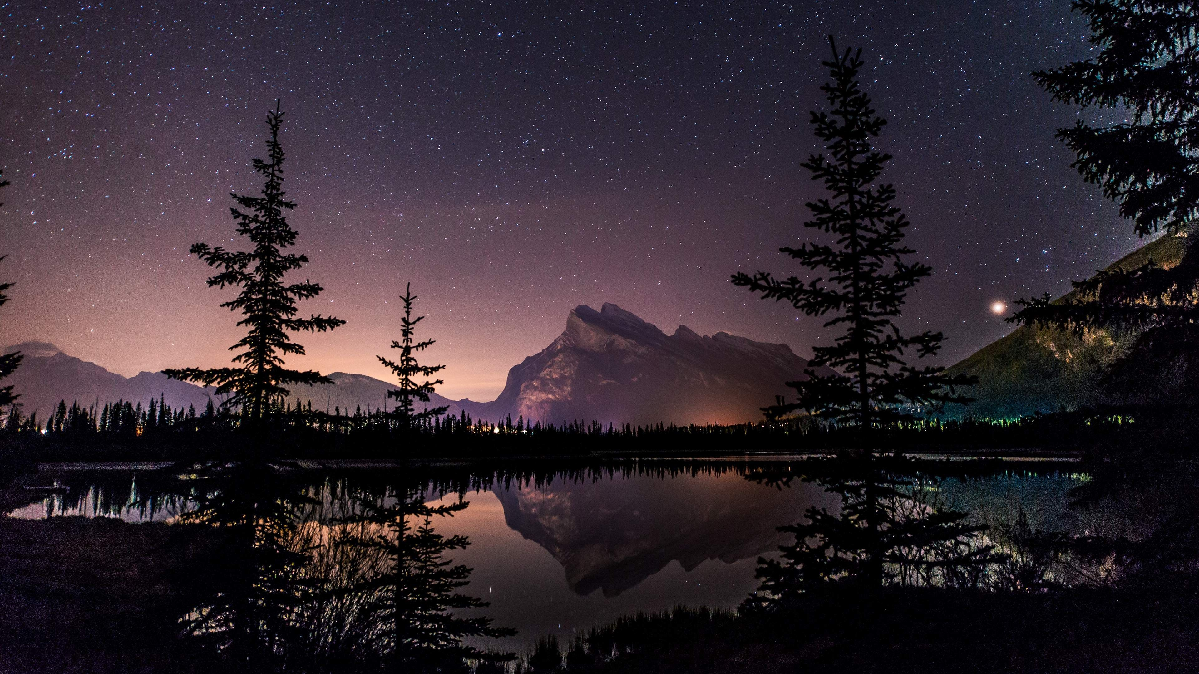 sky lake starry night 4k ultra hd wallpaper ololoshenka