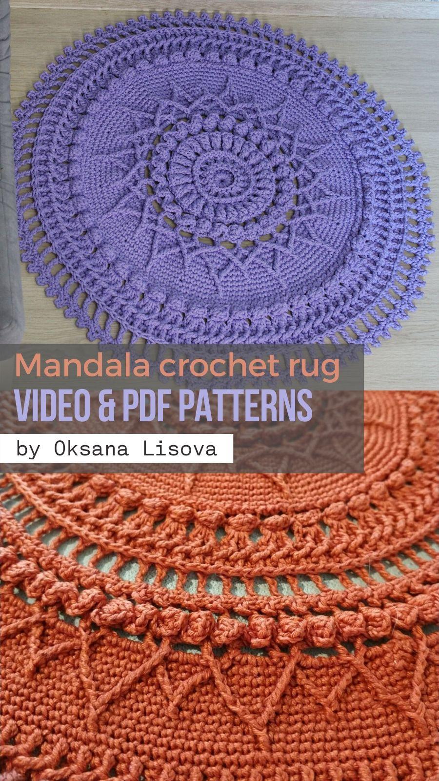 Mandala Crochet Rug Video Pdf Tutorials See All Carpet Patterns In 2020 Crochet Rug Patterned Carpet Crochet Mandala