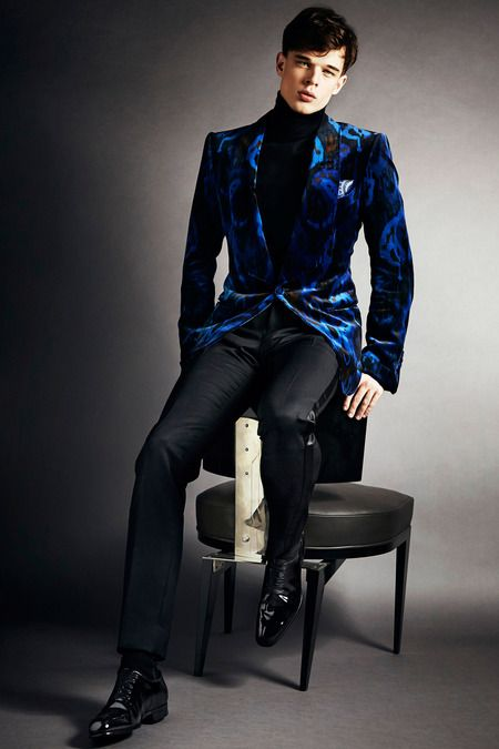 0c075abb2ff13 Blue ikat tuxedo jacket over black turtleneck sweater paired with black  tuxedo pants by  TOM FORD.  IStyleNY  Style