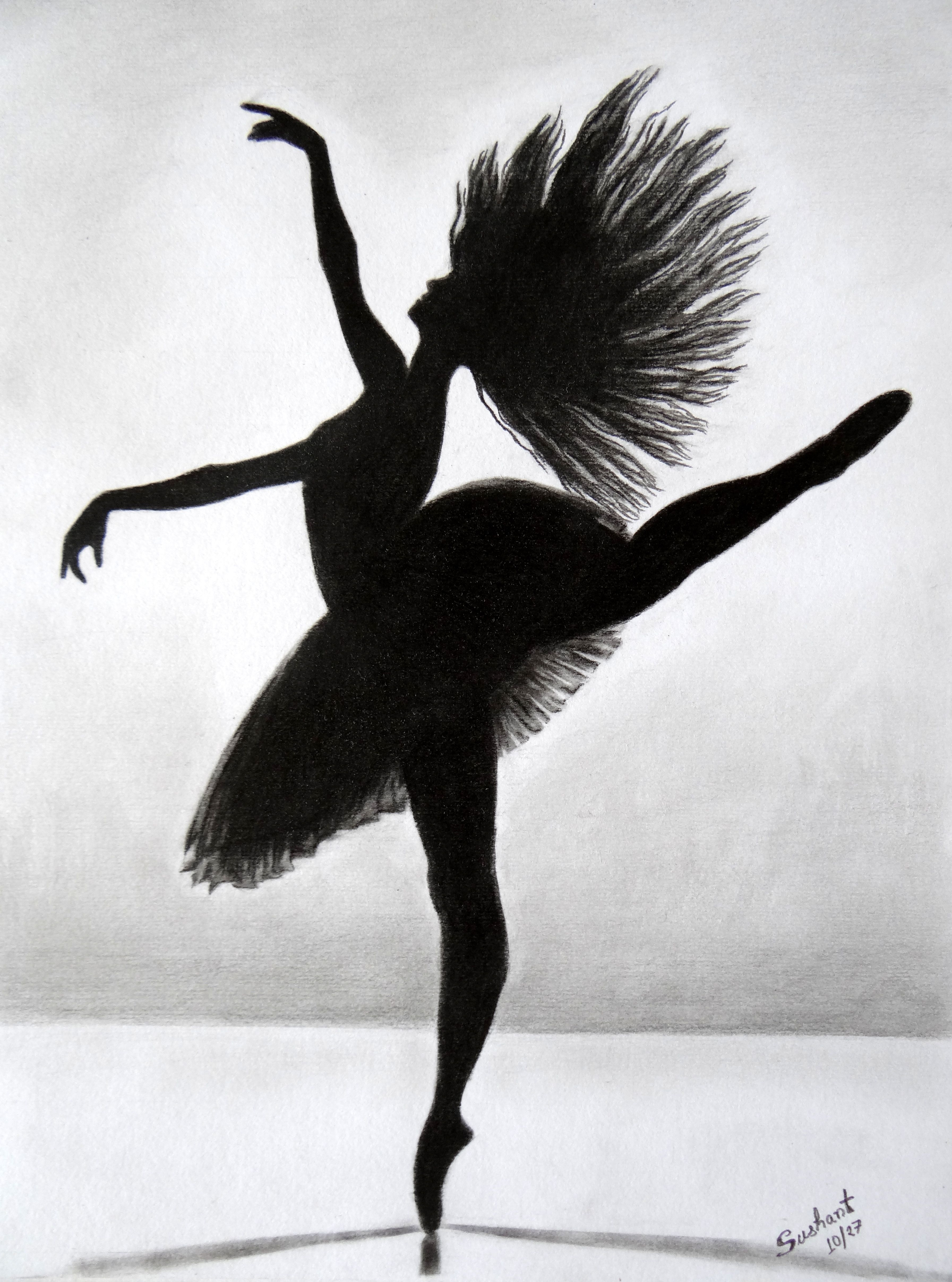 Good Title: Ballerina Done Using Charcoal On A3 Size Paper.. Original Work  Available For Sale