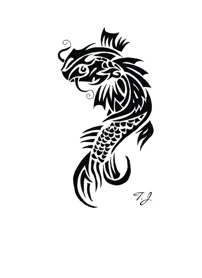 Koi Fish Tribal By Silgan Deviantart Com On Deviantart Peces