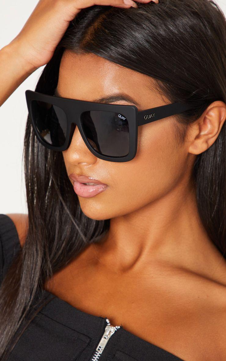 Quay Australia CAFÉ RACER Womens Sunglasses Oversized Boxy Bold Black//Smoke