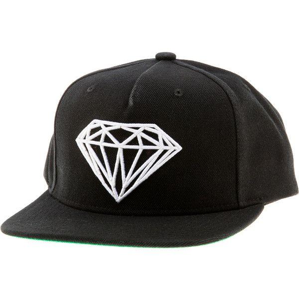 Men's Diamond Supply Co Diamond Brilliant Leather Snapback Hat - Black / White
