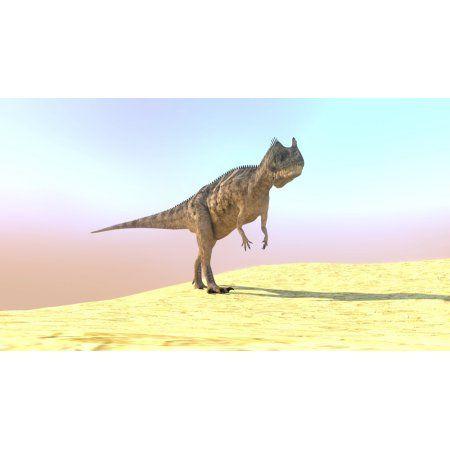 Ceratosaurus hunting in a barren desert Canvas Art - Kostyantyn IvanyshenStocktrek Images (19 x 11)
