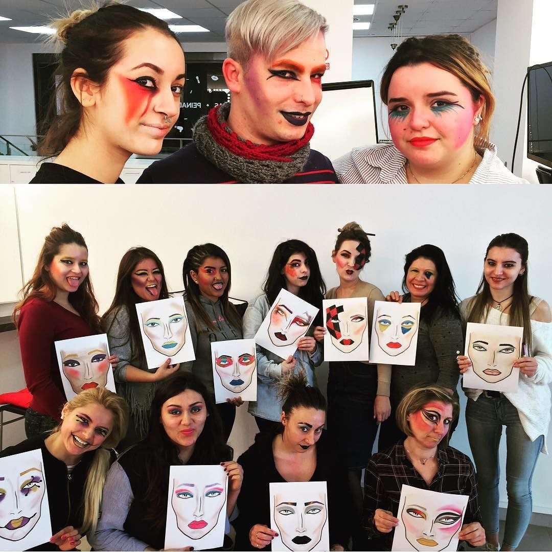 Primer clase de creatividad para los alumnos del curso de formación master de maquillaje