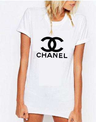 Chanel White Tshirt, Chanel designer tee, Chanel Logo