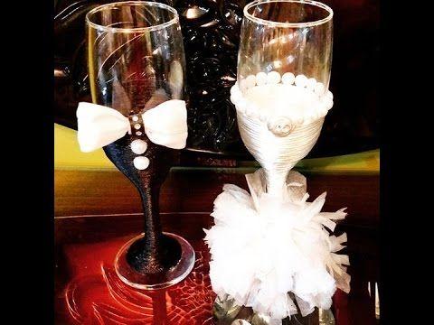 تزيين كاسات العروسين Wedding Glasses Diy Wedding Glasses Diy Wedding Glasses Wedding Wine Glasses