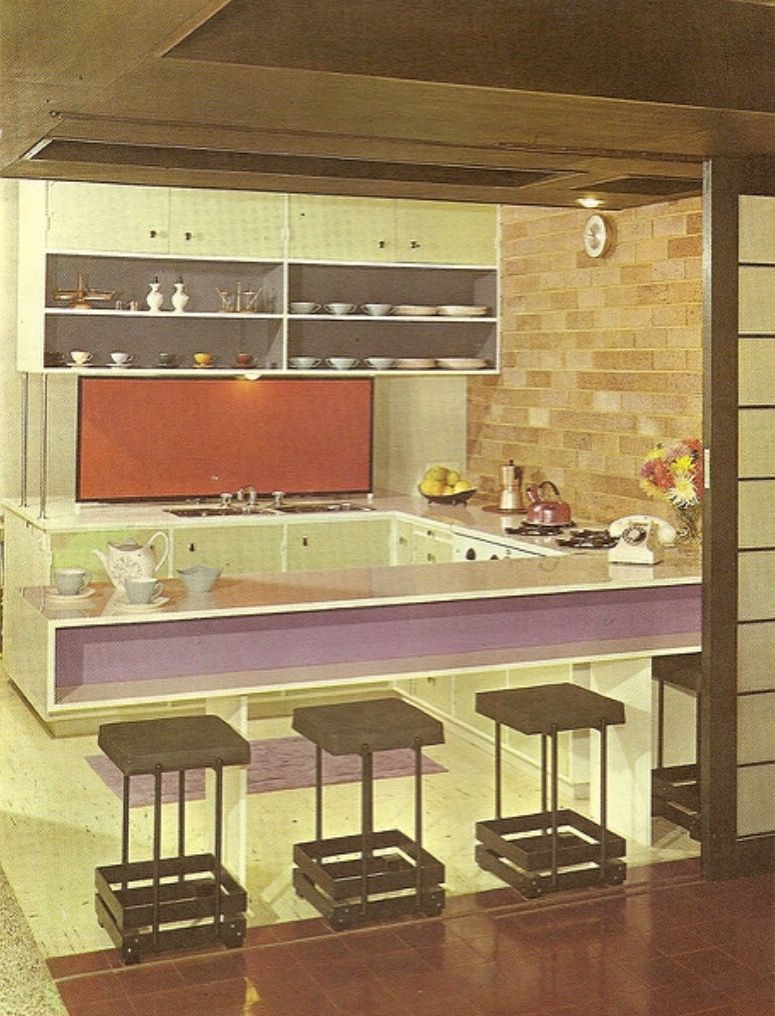 mid century modern galley kitchen. Open And Closed Storage (circa Mid Century Modern Galley Kitchen