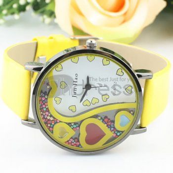A comfortable yellow fashion watch