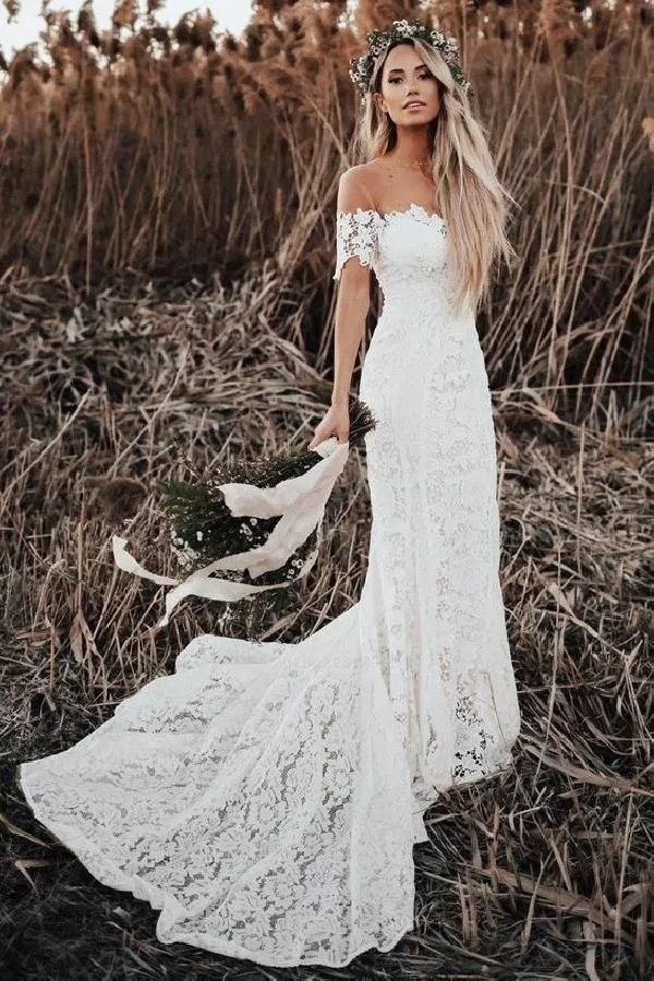 50 Bohemian Wedding Dress Ideas You Are Looking For The Year 2019 15 Welcome Lace Beach Wedding Dress Beach Wedding Dress Boho Mermaid Beach Wedding Dresses