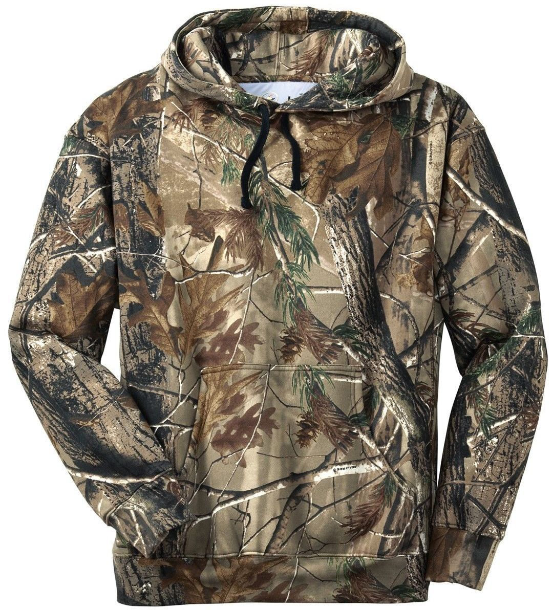 26003e9d99e55 Renegade Sportswear Men's Polyester Camouflage Forest Print 10 Oz.  Pull-Over Hooded Sweat.