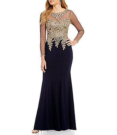 8571f6479d5 Xscape Long Sleeve Lace Applique Mermaid Gown  Dillards