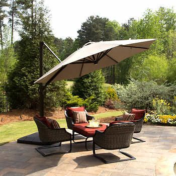 11 Led Solar Round Offset Umbrella By Seasons Sentry Patio Outdoor Patio Umbrellas Large Patio Umbrellas