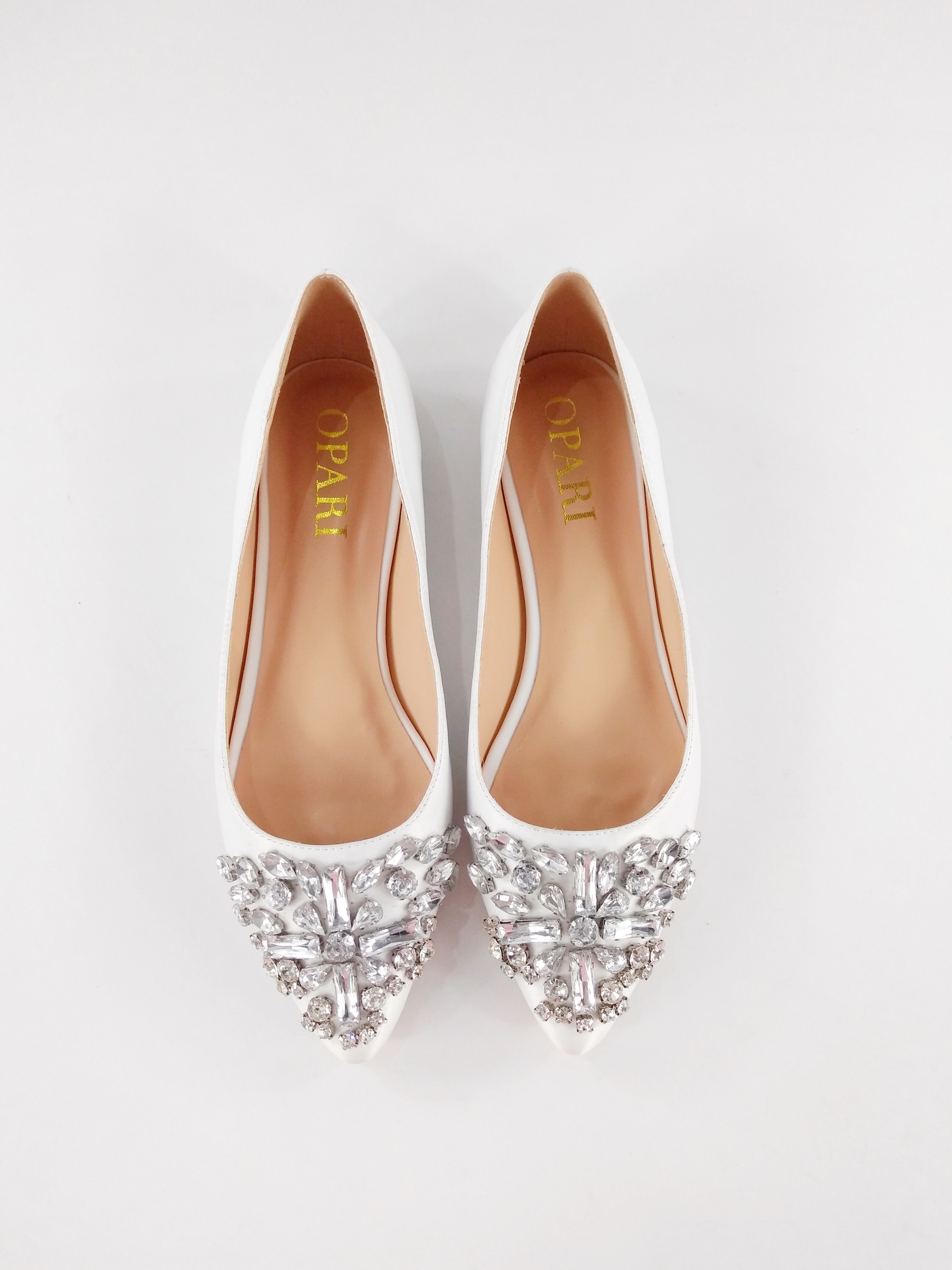 Flat Wedding Pumps With Toe Embellishment Oparishoes Flatweddingshoes White Wedding Shoes Flat Www Opari Wedding Pumps Wedding Shoes Flats Wedding Shoes
