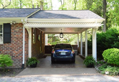 Our second house pergolas columns and concrete for Patio home plans with garage