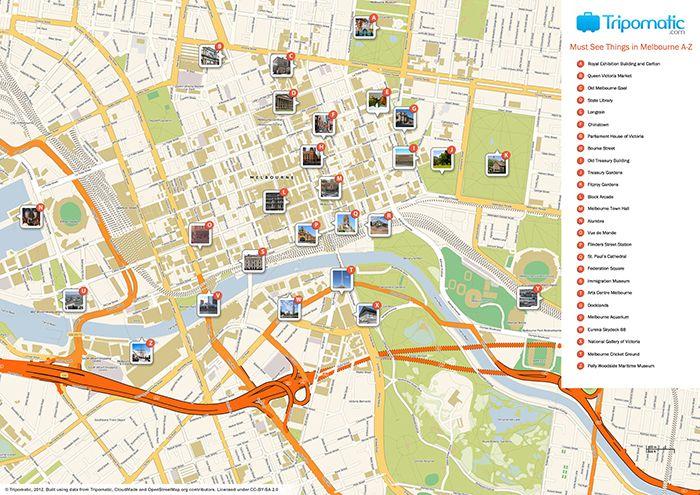 australia printable tourist map of melbourne