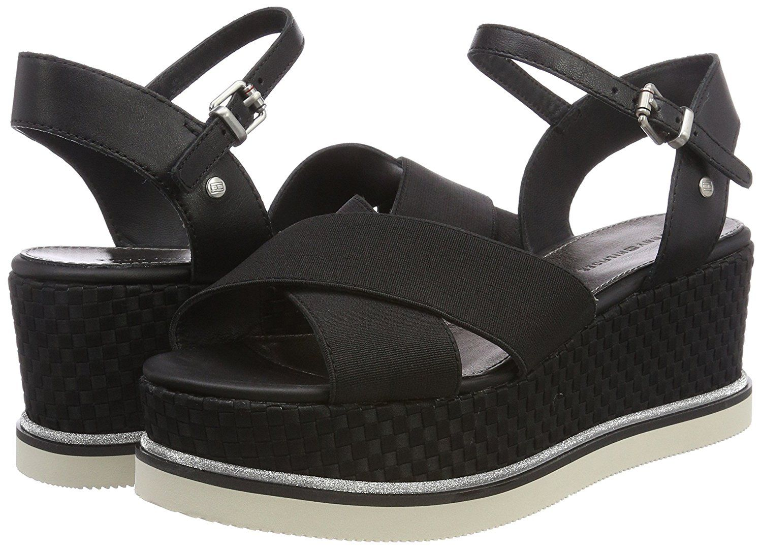 2316a7daf9552 Tommy Hilfiger Women s Sporty Stretch Flatform Sandals  Amazon.co.uk  Shoes