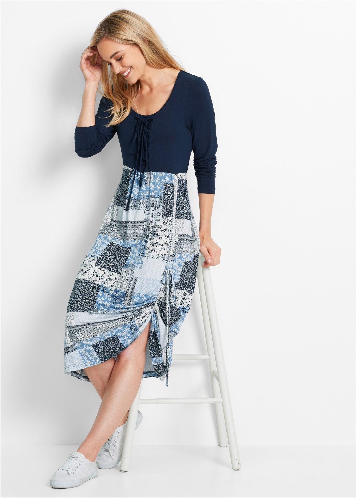 e91154cf8a7f42 Kleid, Langarm dunkelblau bedruckt - bpc bonprix collection jetzt im Online  Shop von bonprix.