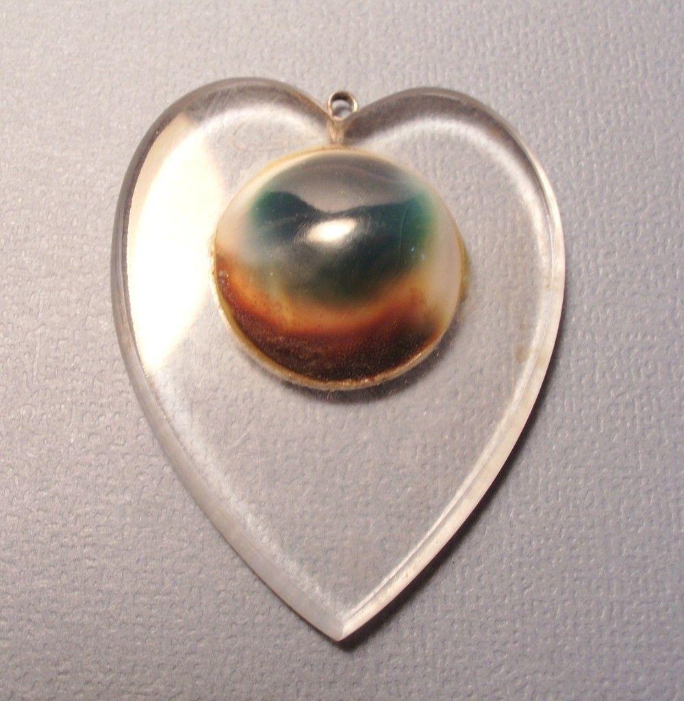 Caramel Cat S Eye Ring Diamontrigue Jewelry: Vtg 1940s Lucite Sweetheart Pendant W Operculum Shell