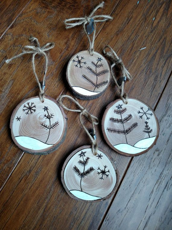 Great Gift 4 Wood Burned Ornaments di BurnwoodCreations su Etsy