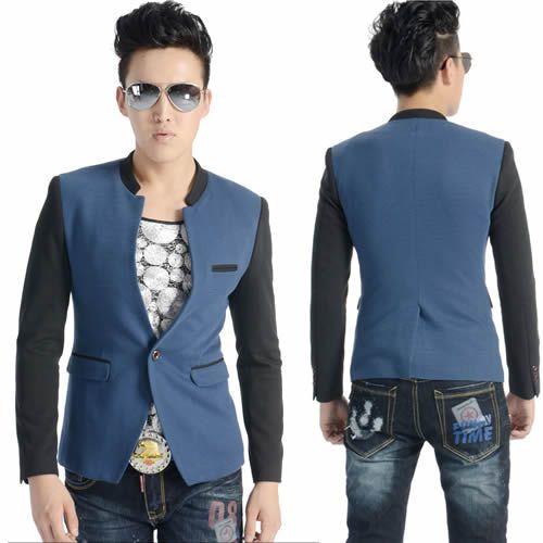 Retro Vintage Navy Blue Black Rockabilly Hipster Casual Suit Jacket Men SKU-11401435