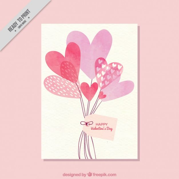 Card With Balloons Of Watercolor Hearts Valentines Watercolor