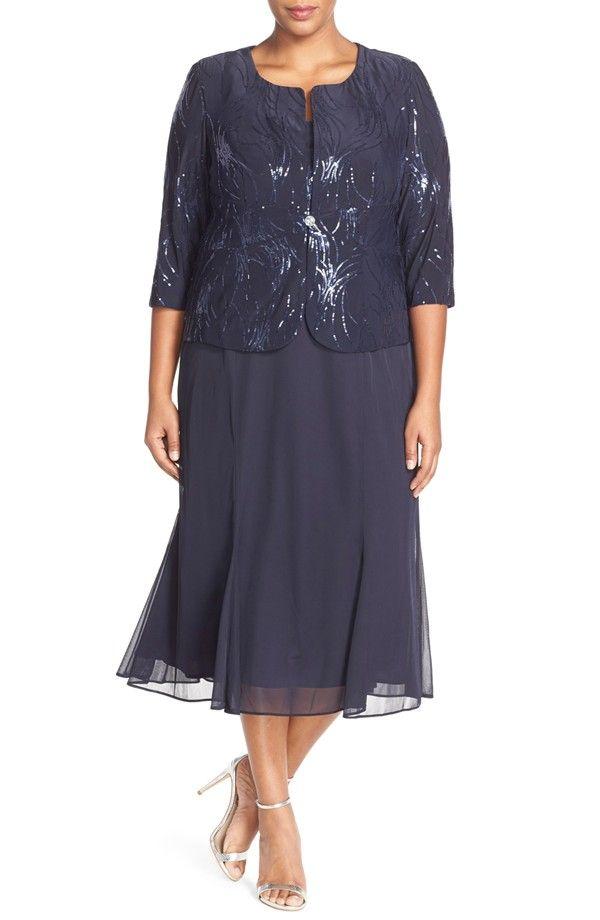 Sequin Mock Two-Piece Dress with Jacket | Vestidos de noche ...
