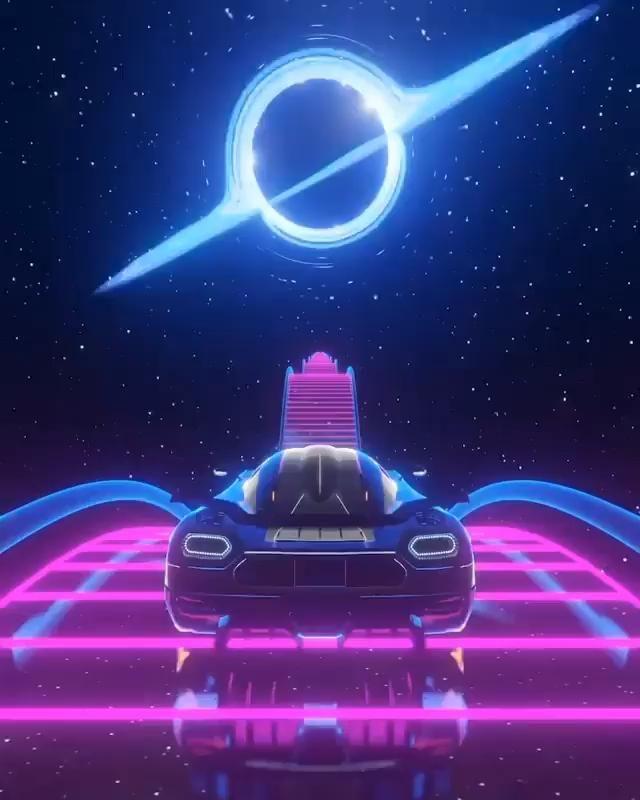futuristic artwork neon colors synthwave digital artwork