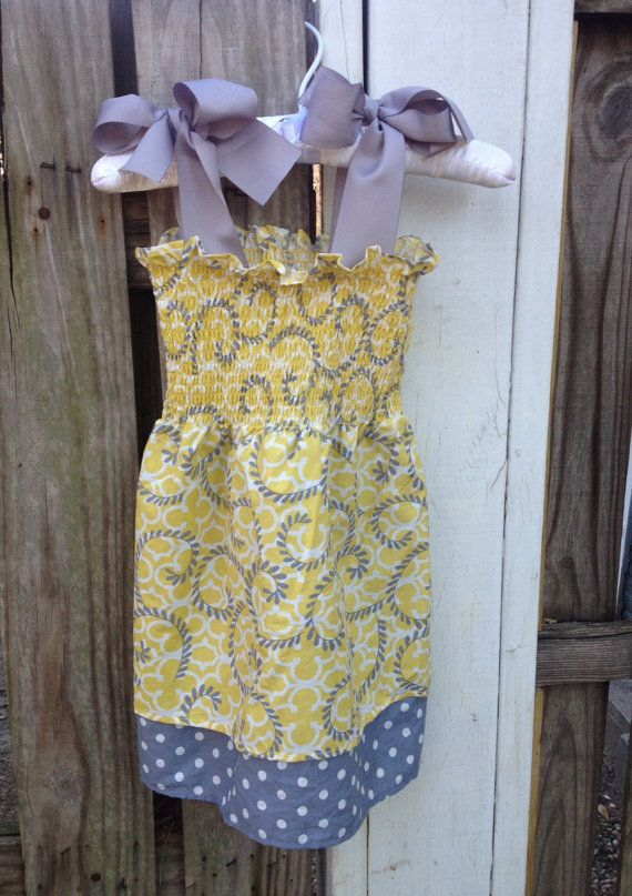 Yellow and Gray Pattern Summer Dress with by EloquenceinIrisGrace