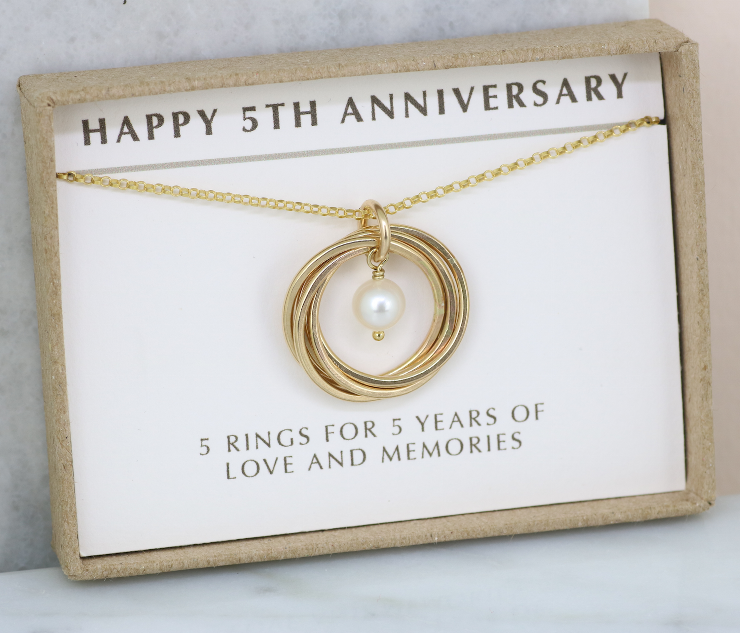 5th anniversary gift for wife, gold necklace for 5 year