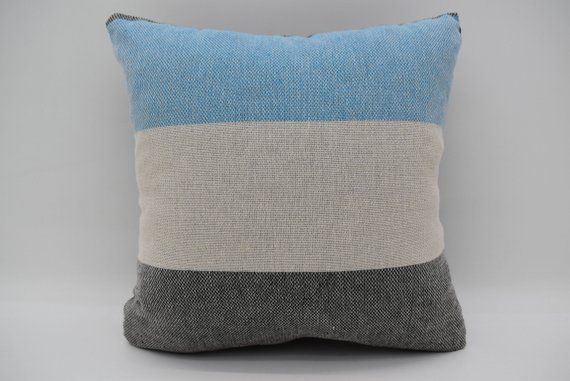 Washable Pillow 12x12 Throw Pillows Striped Pillow Cotton