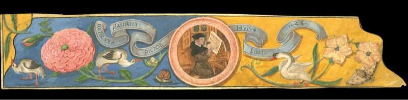 A 1548 selfie: Brother John Plaetseart painted this. Nice self portrait on cutting from ms. BloomingtonLL Rickets274
