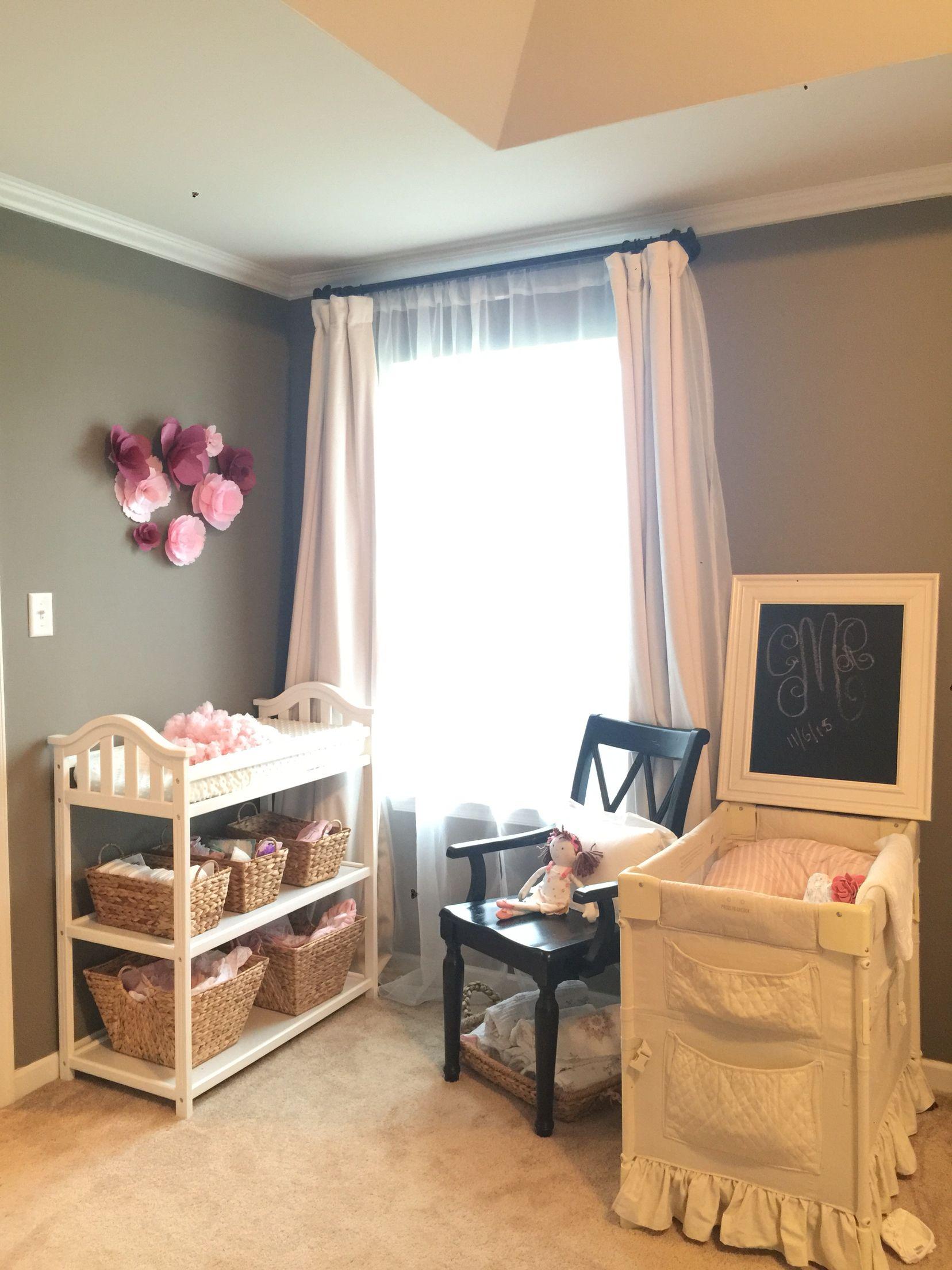 Nursery nook in Master Bedroom RH Slate paint, little b