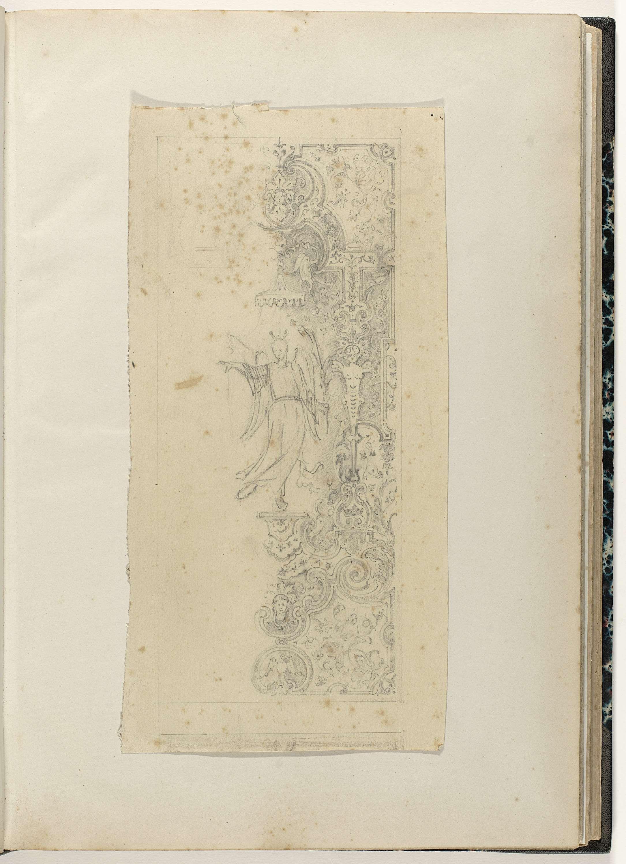 Anonymous | Paneel met figuur onder baldakijn, Anonymous, c. 1866 - c. 1900 | Paneel waarvan alleen de rechterhelft weergegeven is.